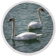 Two Swans A Swimming Round Beach Towel