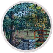 Two Trees And A Gate Round Beach Towel