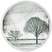 Two Trees In A Field Round Beach Towel
