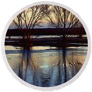 Two Trees In The Bosque Round Beach Towel