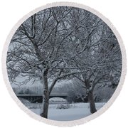 Two Winter Trees Round Beach Towel