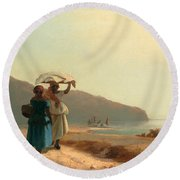 Two Women Chatting By The Sea. St Thomas Round Beach Towel