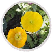 Two Yellow Flowers Round Beach Towel