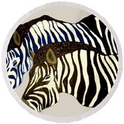 Two Zebras Round Beach Towel