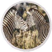 Two Zebras Equus Quagga Nuzzlling Round Beach Towel