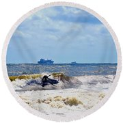 Tybee Island Kite Surfing Round Beach Towel