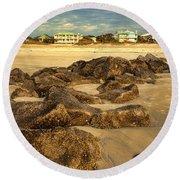 Tybee Island Landscape Round Beach Towel