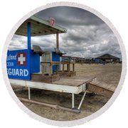 Tybee Island Lifeguard Stand Round Beach Towel by Peter Tellone