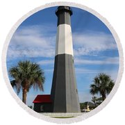 Tybee Island Lighthouse Round Beach Towel