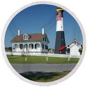 Tybee Island Lighthouse Ga Round Beach Towel