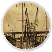 Tybee Island Shrimp Boats Round Beach Towel