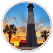 Tybee Island Sunrise Round Beach Towel