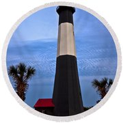 Tybee Light And Palms Round Beach Towel