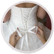 Tying The Bow On A Wedding Dress Round Beach Towel