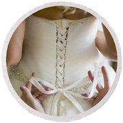 Tying The Wedding Dress Round Beach Towel