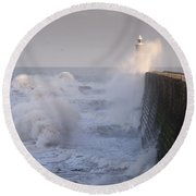 Tynemouth North Pier And Waves Round Beach Towel