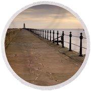 Tynemouth North Pier Round Beach Towel