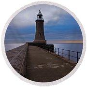 Tynemouth Pier Lighthouse Round Beach Towel