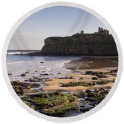 Tynemouth Priory And Castle Across King Edwards Bay Round Beach Towel