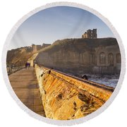 Tynemouth Priory And Castle From North Pier Round Beach Towel