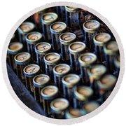Typewriter Keys Round Beach Towel