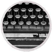 Typewriter Triptych Part 2 Round Beach Towel