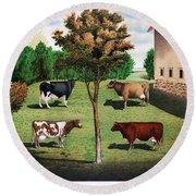 Typical Cows  Round Beach Towel