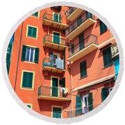 Typical Ligurian Homes Round Beach Towel