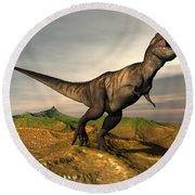 Tyrannosaurus Rex Dinosaur Walking Round Beach Towel