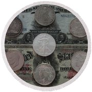 U S History Of Silver Dollars Round Beach Towel