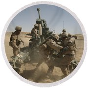 U. S. Marines Ram A Satellite-guided Round Beach Towel