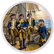 U S Navy Commander In Chief Of The Fleet Round Beach Towel by The Werner Company