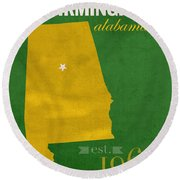Uab University Of Alabama At Birmingham Blazers College Town State Map Poster Series No 009  Round Beach Towel