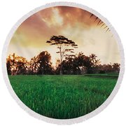 Ubud Rice Fields Round Beach Towel