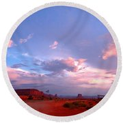 Ufo At Monument Valley Round Beach Towel