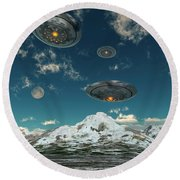Ufos Flying Over A Mountain Range Round Beach Towel