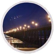 Ufo's Over Oceanside Pier Round Beach Towel