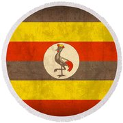 Uganda Flag Vintage Distressed Finish Round Beach Towel