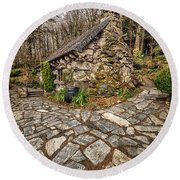 Ugly Cottage Round Beach Towel by Adrian Evans