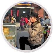 Uighur Street Side Bread Vendor Smokes Shanghai China Round Beach Towel
