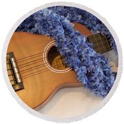 Ukulele And Blue Ribbon Lei Round Beach Towel