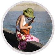 Ukulele Lady At Hanalei Bay Round Beach Towel