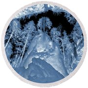 Ultraviolet Cave In Winter Round Beach Towel