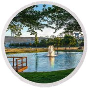 Umatilla Fountain Pond Round Beach Towel by Robert Bales