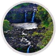 Umauma Falls I Round Beach Towel