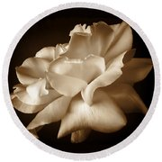 Umber Rose Floral Petals Round Beach Towel by Jennie Marie Schell