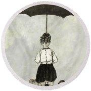 Umbrella Children Round Beach Towel