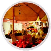 Umbrella Fruitstand - Autumn Bounty Round Beach Towel