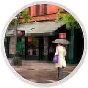 The Purple Bag - New York City In The Rain Round Beach Towel