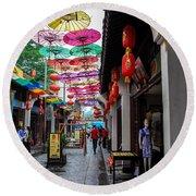 Umbrella Street Round Beach Towel